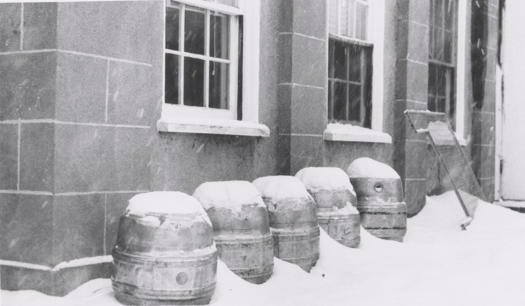Kegs in winter at Wesleyan
